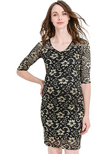 Hello MIZ Women's Maternity Floral Lace Knee Length Bodycon Dress (Black/Gold, S)