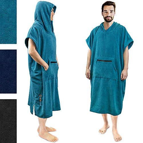 SUN CUBE Surf Poncho Changing Robe with Hood | Quick Dry Microfiber Polyester Changing Towel (Beach Towel Surfing)