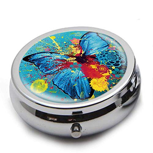 Round Stainless Steel Pill Box Case - Blue Butterfly Oil Painting Art Pattern - Pocket 2 inches Medicine Tablet Holder Organizer Case for Purse - Compact 3 Compartment