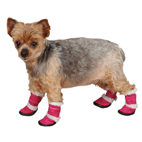 Collection East Side Boots - East Side Collection Polyester Sherpa Dog Boot, X-Large, Raspberry