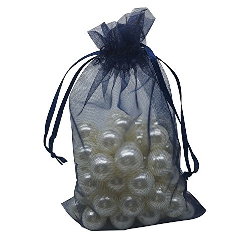 MELUOGE 100pcs 6X9 Inches Organza Drawstring Jewelry Pouches Bags Party Wedding Favor Gift Bags Candy Bags (Navy Blue)