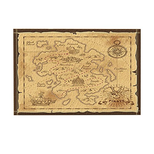 NYMB Vintage Decor, Treasure Map and Pirate Emblem Sailboat Compass Crossed Sabers Bath Rugs for Bathroom, Non-Slip Floor Entryways Outdoor Indoor Front Door Mat, Kids Bath Mat, 15.7x23.6in (Multi26) ()