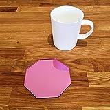 Octagonal Coaster Set - Pink Mirror - Set of 8