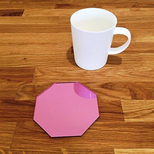 Octagonal Coaster Set - Pink Mirror - Set of 8 by ServeWell