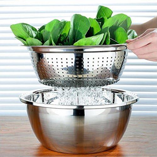 Liuyu Kitchen Home Rond en acier inoxydable Pot Wash Vegetables Drain Lavabo Lavage Riz Sieve (taille : 32cm)