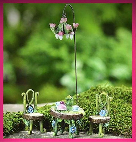 FAIRY GARDEN FUN Fairytale Bistro Table Chairs Chandelier Set Mini Dollhouse 333 - My Mini Fairy Garden Dollhouse Accessories for Outdoor or House Decor