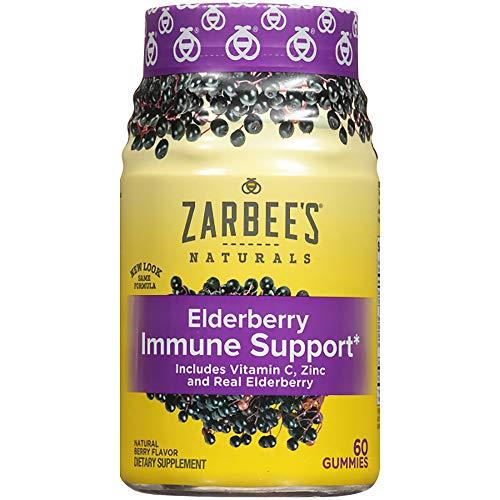 Zarbee's Naturals Elderberry Immune Support* Gummies with Vitamin C, Zinc, Natural Berry Flavor, 60 Count