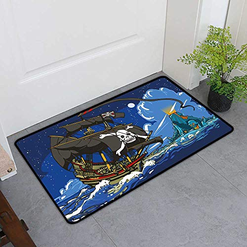 TableCovers&Home Inlet Outdoor Door Mat, Pirate Decorative Rugs for Kitchen, Caribbean Waters Adventure Time Volcano with Sea Storm Skull Island Jolly Roger (Multicolor, H20 x W32)