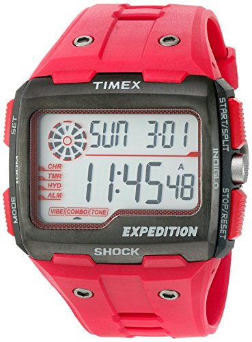 Timex Men's TW4B03900 Expedition Grid Shock Red Resin Strap Watch -