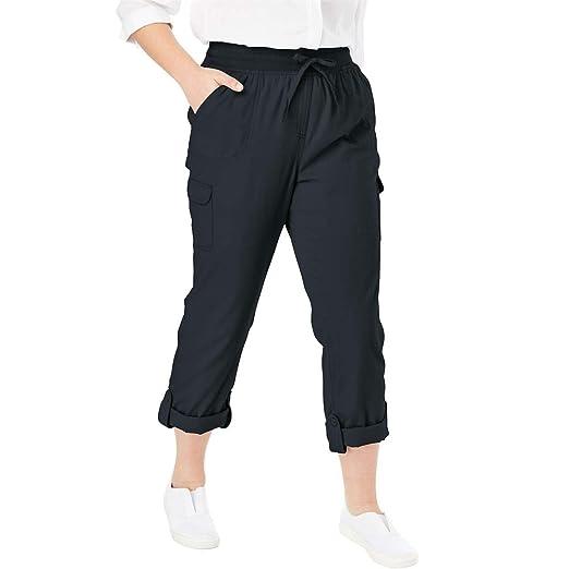 57e2edf83d863 Woman Within Plus Size Petite Convertible Length Cargo Pant - Black
