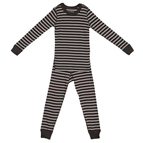 (Skylar Luna Boy's Long Sleeve Grey Stripe Pajama Set - 100% Organic Cotton Shirt Pants - Charcoal/Ivory/Gray - for 18-24)