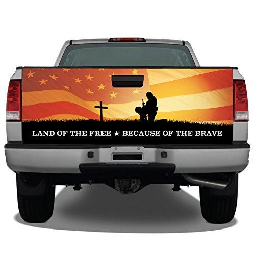 Fallen Warrior Sunset American Flag Truck Tailgate Wrap Vinyl Graphic Decal