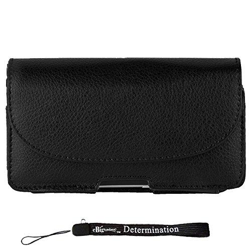 - Horizontal Wallet Black Leather Hip Holster [SAM060] for Motorola RAZR I   RAZR M   Droid RAZR HD M   Mini + eBigValue HandStrap