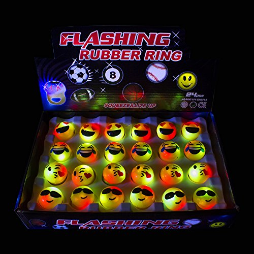 24 Pack - Emoji Flashing Rings with LED Lights ()