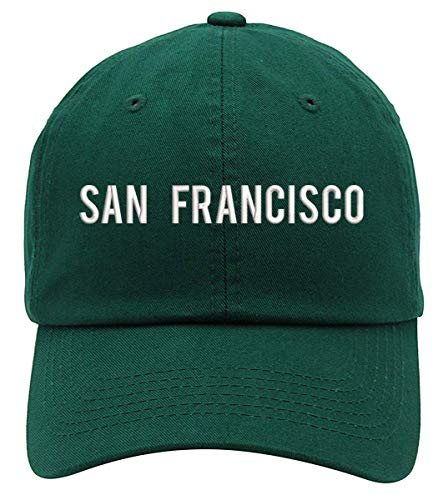 San Francisco Text Embroidered Low Profile Soft Crown Unisex Baseball Dad Hat Forest Green -