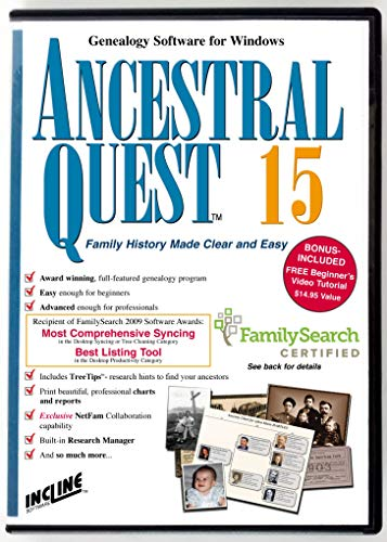 - Ancestral Quest 15 (Windows) Family Tree and Genealogy Software