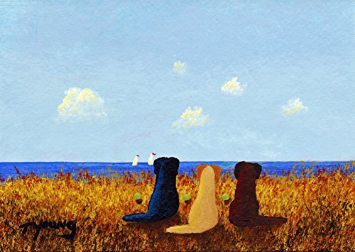 Black Yellow Chocolate Lab Labrador Retriever DOG Art print by Todd Young SEA BREEZE
