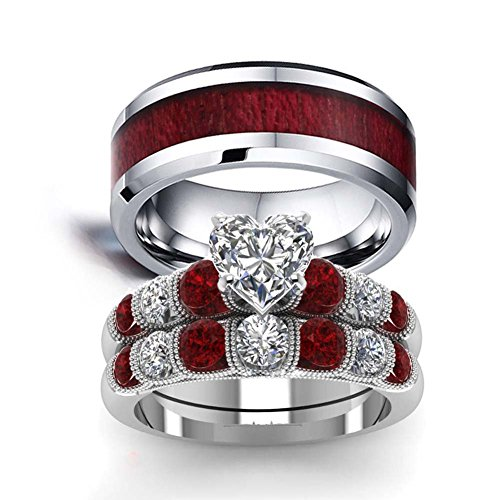 LOVERSRING Couple Ring Bridal Set His Hers White Gold Stainless Steel 10k Wedding Ring Band Set