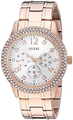 GUESS Women's Stainless Steel Crystal Accented Watch, Color: Rose Gold-Tone (Model: - Guess Watch Rose Gold