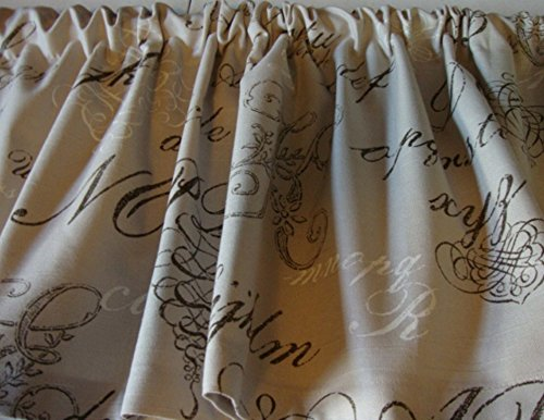 Valance Monograms on Tan Taupe Background Decorator Fabric Curtain Window Treatement