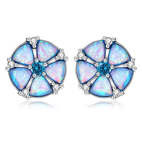 Fardrew 18K White Gold Plated Silver, Jewish Star Opal Earrings, Topaz Zircon Rhodium-Plated Hypoallergenic Women Jewelry Gemstone Stud Earrings ()