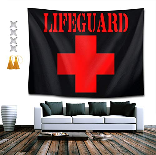NiYoung Lifeguard Gear Logo Wall Tapestry Hippie Art Tapestry Wall Hanging Home Decor Extra Large tablecloths 60x90 inches for Bedroom Living Room Dorm Room