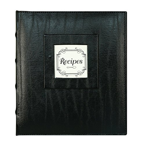 C.R. Gibson Black Bonded Leather 3 Ring Recipe Book with Tabbed Dividers and Sheet Protectors, 8.94'' x 9.38