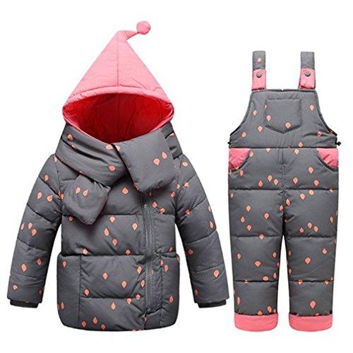 Baby Set Daunenjacke mit Kaputze Bekleidungsset Baby Kinder Junge Mädchen Verdickte Winterjacke + Winterhose Kleinkind Light rain Aufdruck Daunenhose Jacket (85-95(Etikett 90), Schwarz)