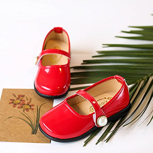 Toddler Girl Patent Leather Pearls Mary Jane Princess Dress Shoe Ballerina Flats Red Size 29 by LINKEY (Image #3)