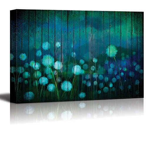 Wall26 - Watercolor Dandelions on a Field Over Teal Wooden Panels - Canvas Art Home Decor - 24x36 inches