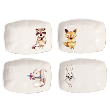 Colias Wing Adorable Rabbit/Fox/Bear/Squirrel Pattern Design Multipurpose Porcelain Side Dish Bowl Seasoning Dishes Soy Dipping Sauce Dishes-Set of 4-Whtie- Square