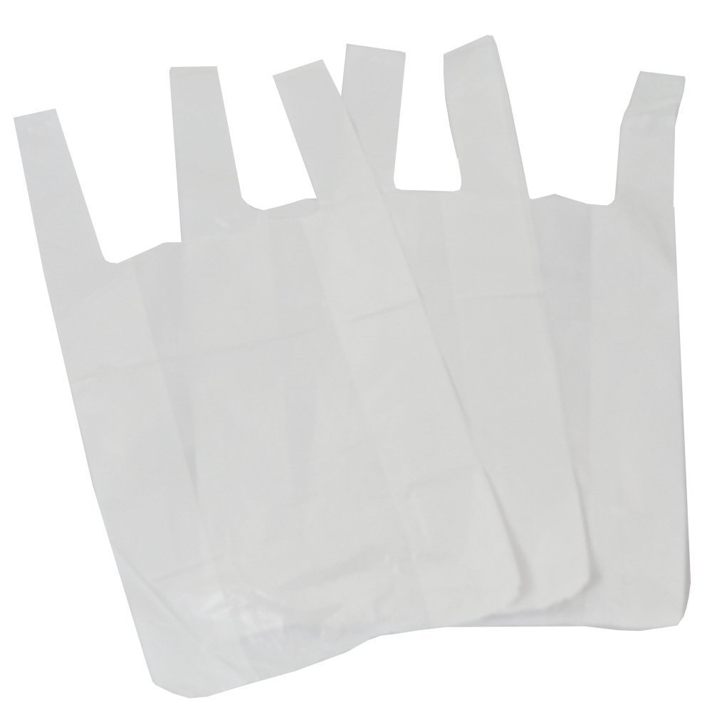 100 Small White Plastic Polythene Vest Style Carrier Bags - Size 10 x 15 x 18