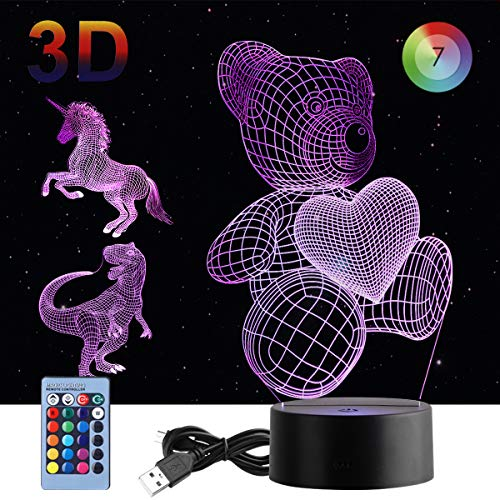 3D Night Light, 3 in 1 DUUDO 3D Dinosaur Illusion Night Lamp Elstey 7 Colors with Remote Control, Best Birthday Gifts for Kids (Dinosaur, Unicorn and Teddy Bear Heart Included) (Horse And Girl Coming Or Going Illusion)