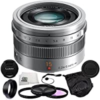 Panasonic LUMIX G Leica DG Summilux 15mm f/1.7 ASPH. Lens (Silver) + 5 Piece Essentials Accessory Kit