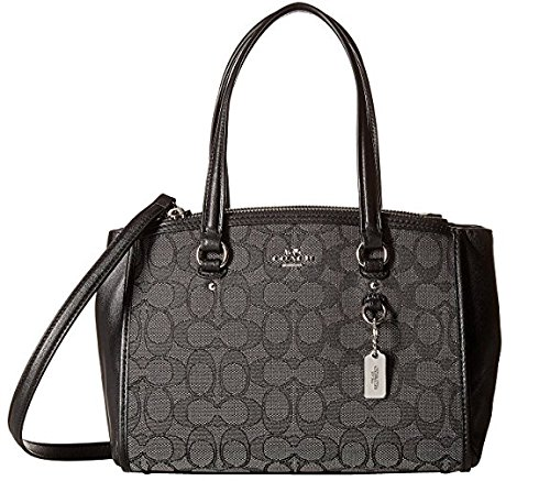 Stanton Single (COACH Women's Signature Stanton 26 Carryall SV/Black Smoke/Black Satchel)