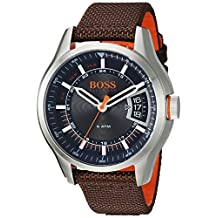 Movado Group Inc - dba Hugo Boss Men's 'HONG KONG SPORT' Quartz Stainless Steel and Nylon Casual Watch, Color:Brown (Model: 1550002)