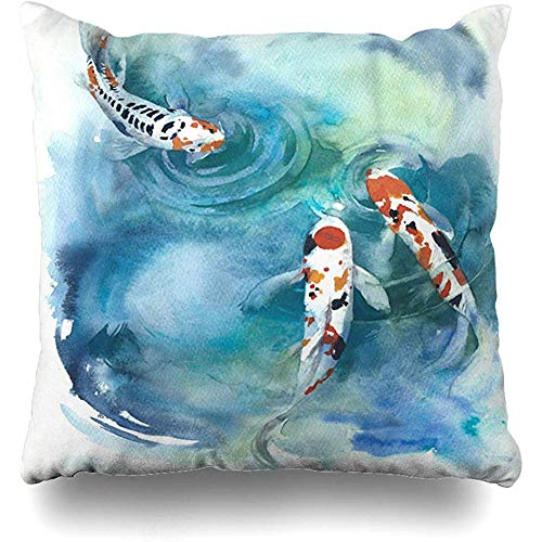 Throw Pillows Covers Fish Japanese Pond Watercolor Painting Wildlife Cushion Case Pillowcase Home Sofa Couch Square Size 18