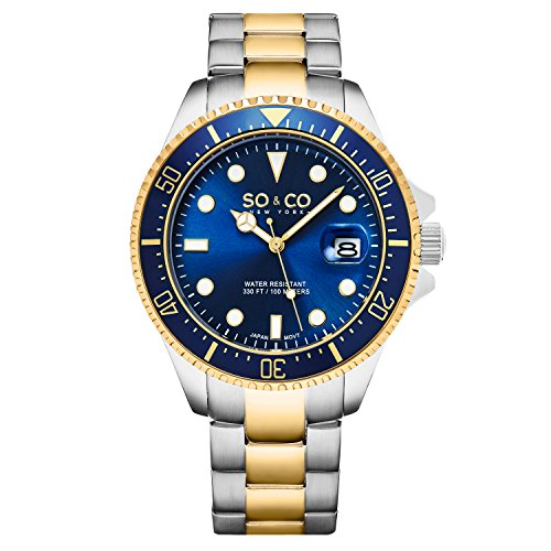 Yacht Timer (SO&CO New York Men's 5347.4 Yacht Timer, Diver Two Tone Watch, Silver Tone Case Blue Dial Watch)