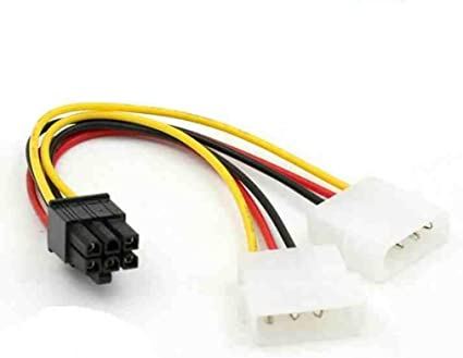 6Pin PCI Express Adapter Cable M 6inch to Dual 4Pin Molex F