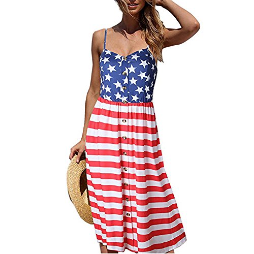 Women Long Dress ,American Flag Printed 4th of July Sleeveless Loose Skirts Front Button Mini Dress (XL, Red)