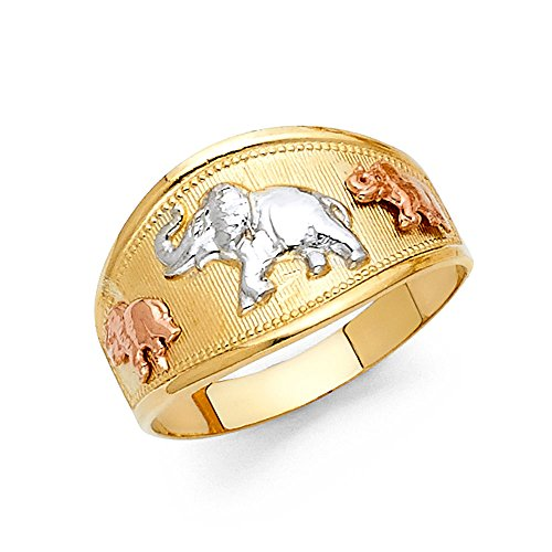 Solid 14k Yellow White Rose Gold Elephants Band Ring Tapered Good Luck Charm Tri Color 11MM, Size 9