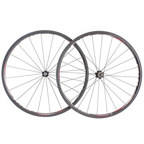 Wiel R25c Carbon Fiber Road Bike Wheels 25mm Height 24mm Width Bicycle Wheelset - Red