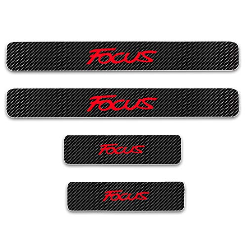 for Ford Focus Door Sill Protector Reflective 4D Carbon Fiber Sticker Door Entry Guard Door Sill Scuff Plate Stickers Auto Accessories 4Pcs Red