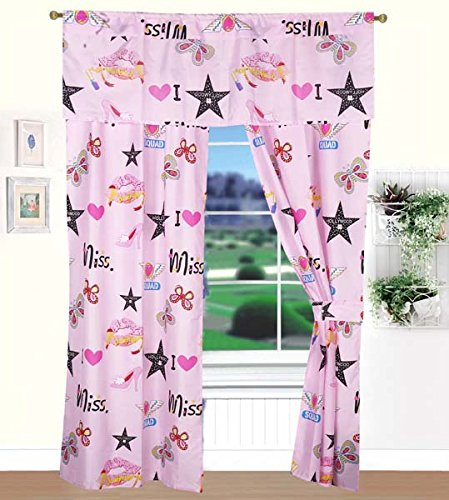 MK Home Mk Collection 2 Panel Curtain Set For Teens/Girls Bedroom Pink Butterflies Love Miss Stars Lovely Adorable New #10 -
