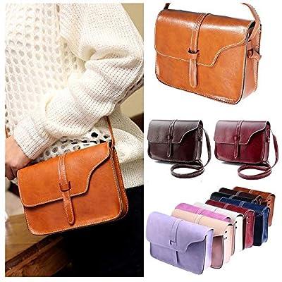 ?? Sunbona Leather Messenger Bag for Women Vintage Purse Bag Cross Body Shoulder School College Satchel Shoulder Bags