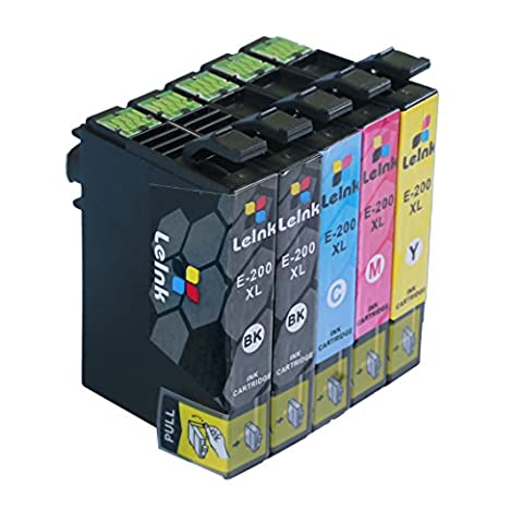 200XL Ink Cartridge 5 Pack Compatible for Epson XP-410 XP-400 XP-300 XP-310 XP-200 Wf-2540 Wf-2530 Wf-2520 (Black Ink Epson 200xl)