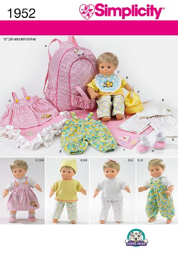 (Simplicity 1952 15'' Doll Carrier and Doll Clothes Sewing Patterns)