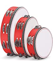 """Flexzion Red Handheld Tambourine 6"""" Inch Single Row 4 Pair Jingles (Red) - Hand Held Percussion Drum Moon Musical Tambourine with Ergonomic Handle Grip for Kids Adults Classroom Gift KTV Party"""
