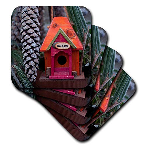 (3dRose Andrea Haase Christmas Photography - Cut Birdhouse With Big Pin Cones Photography - set of 4 Ceramic Tile Coasters (cst_318597_3))
