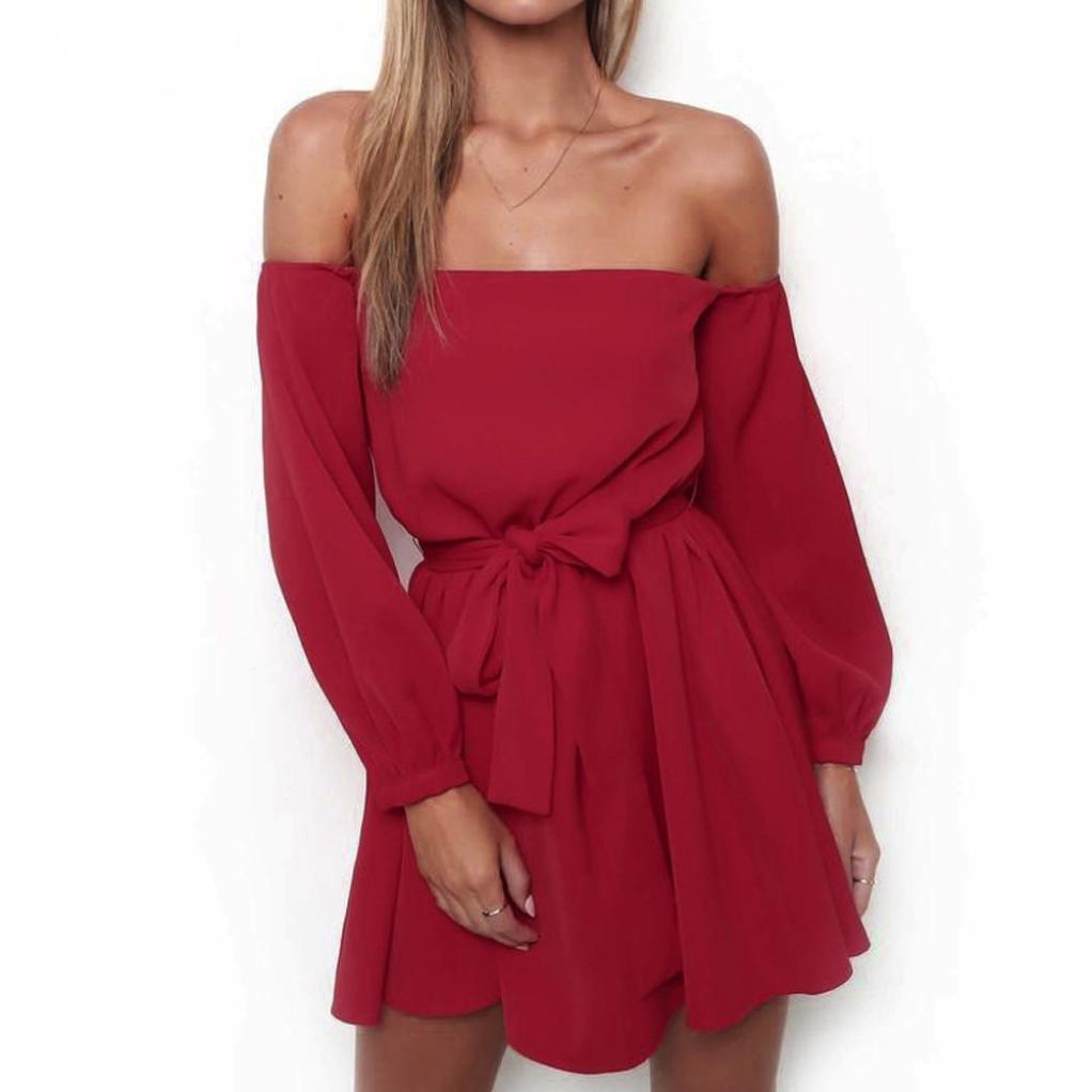 Misaky Women Off Shoulder Long Sleeve Belted Summer Black Red White Dress (M, Red)
